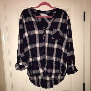 Navy based plaid top